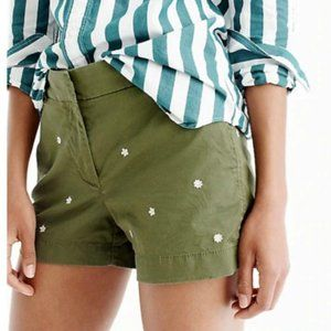 """J. Crew Embroidered 4"""" Chino Shorts Dried Thyme"""